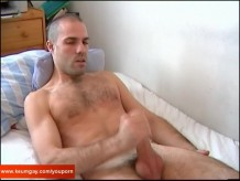 French swimmer guy with huge cock get wanked by a guy !
