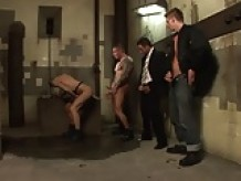 Businessman jerks while watching guys fuck