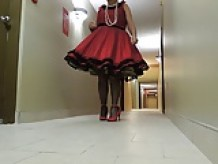Sissy Ray In Red Dress and Black Crinoline Petticoat