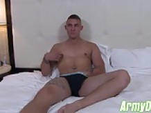 Hot ass military dude Ripley wanking his fat cock